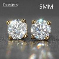 14k 585 de oro blanco al por mayor-Transgems 14K 585 oro blanco 1ctw 5mm lab. Creado moissanite Diamond Stud Earrings For Women push Back Earrings 1pair