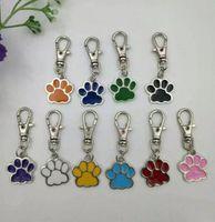 cópias da pata do metal venda por atacado-Atacado Mixed Esmalte Cat Dog / Bear Paw Prints Rotating Fecho Da Lagosta Chaveiros Chaveiros Para keychain bag Jewelry Making-49