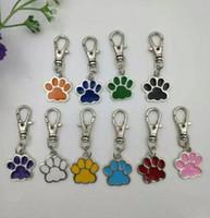 köpek toka toptan satış-Toptan Karışık Renk Emaye Kedi Köpek / Ayı Pençe Baskılar Için Döner Istakoz Kapat Anahtarlık Anahtarlıklar Çanta çanta Takı Yapma-49