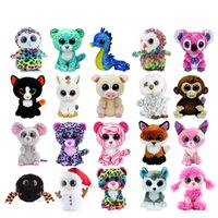 Wholesale fantasia blue - Ty Beanie Boos Bubby Easter Rabbit Fantasia 7inch 17CM Dog Boos Pixy - White Unicorn Reg Grey Cat Boos Leona Blue Leopard Slick Brown Fox