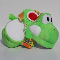 Wholesale Mario Plush For Free - Super Mario Yoshi Plush Stuffed Shoes Slipppers Winter Indoor For Adult Retail Free Shipping