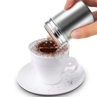 Wholesale ice salt - New Stainless Steel Chocolate Shaker Cocoa Flour Salt Powder Icing Sugar Cappuccino Coffee Sifter Lid Shaker Kitchen Tools