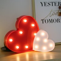 Wholesale New Romantic LED Holiday Lighting Plastic Night Lights Warm White DIY Symbol Living Room Wedding Party Show Heart Love Decor Lights H1423