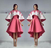 vestidos de color turquesa modestos al por mayor-Saiid Kobeisy 3D de encaje floral Fora noche Vestidos de Shi Shual 2017 Modest Turquoise Peplum Ruffles Skirt Dubai Ocasión árabe Vestido de fiesta de graduación