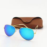 Wholesale best womens sunglasses resale online - 1pcs Best Quality Txrppr Mens Womens Designer Sunglasses Pilot Sun Glasses Gold Green Colorful Flash mm Glass Lenses With Brown Box