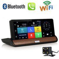 kfz-kameras groihandel-7-Zoll-Full-HD-1080P 3G Wifi WIFI Rearview-Kamera Android 5.0 Auto DVR GPS G-Sensor 16 GB Bluetooth-Doppelobjektiv-Navigationssystem
