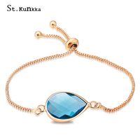 браслет с каплями воды оптовых-St.kunkka Slide Bracelet Water Drop Crystal Bead Charm Bracelets For Women Girls 12 Colors Box Chain Bangle Jewelry Trendy Gift