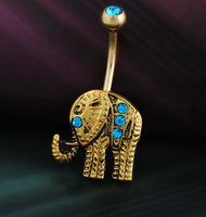 Fake Piercing New Arrival Animal de moda 2016 Hot Body Piercing Quirúrgica Jewelry Steel Navel Belly Button Bar Elephant