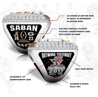Wholesale Channel Display - The Newest 2017 2018 Alabama Crimson Tide NCAA Championship ring with wooden display box Fan Gift wholesale Drop Shipping