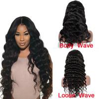 peruk için en iyi dantel toptan satış-Siyah Kadınlar Için ön Koparıp Brezilyalı İnsan Saç Dantel Ön Peruk Vücut Dalga / Gevşek Dalga Doğal Saç Çizgisi Peruk Doğal Renk En Çok Satan Öğeler