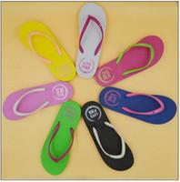 Wholesale Flip Flop Sandals Wholesale - 7 Colors Girls Pink Flip Flops Love Pink Sandals Pink Letter Beach Slippers Shoes Summer Soft Beach Slipper 2pcs pair CCA9172 20pairs