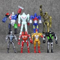 Wholesale robot real doll - 8pcs lot Action Figure Real Steel Toys Atom Movie Zeus Twin Cities Midas Robot PVC 13cm gift doll Model Anime Non-JAKKS robot