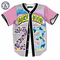 ingrosso seni aria-Camicia 3D monopetto uomo Streetwear Maglietta estiva Hip Hop Bel Air 23 Maglia da baseball fresca Prince Chill Flower Overshirt