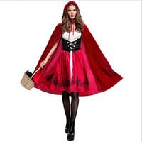 juegos para adultos de calidad al por mayor-Mujeres adultas de Alta Calidad sexy vestido de Halloween Little Red Riding Hood traje vestido de princesa vestido manto Bar Juego Cosplay traje