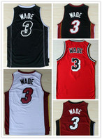 Wholesale Men Mix Color Shirt - Good Quality Retro Throwback Stitched Logo Dwayne Wade Men's Basketball Jerseys New 3 Dwayne Wade Shirt Mix Order 5 Color