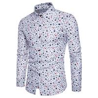 yaka yaka gömlek erkek toptan satış-Toptan Ücretsiz Kargo Erkekler Pamuk Uzun Kollu Slim Fit Düğme Aşağı Yaka Yıldız Baskılı Casual İş Gömlek