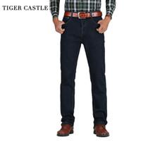 Wholesale mens black classic straight jeans - Tiger Castle Mens High Waist Jeans Cotton Thick Classic Stretch Jeans Black Blue Male Denim Pants Spring Autumn Men Overalls