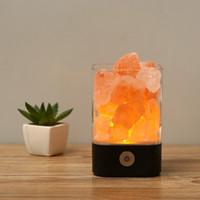 ingrosso luce luminosa camera da letto-Himalayan Salt Lamp Natural USB Crystal Rock Lampada multicolore Night Light con Touch Dimmer Switch creativo negativo Ioni per camere da letto regalo
