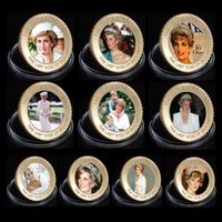 Wholesale Gold Coins 24k - WR The Last Rose of England Princess Diana 24k Gold Coin Collectible Metal Coins Art Ornament for Human Collection