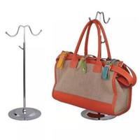 Wholesale wholesale handbag displays - Double Hooks Curved Hook Light Hanging Bags Adjustable Handbag Rack Display Silk Scarves Bag Storage Hook Wig Hanger Stand CCA10000 10pcs