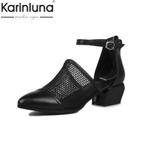 Wholesale natures shoes - KARINLUNA 2017 brand new size34-40 genuine leather Black women shoes woman sandals nature cow leather black party shoes