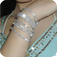 Wholesale Clear Cuffs - Free Shipping Sparkle Women Prom Party Wear Elastic 1 Row Sliver plated Crystal Bangle Bridal Bracelets Party Jewelry 2017 Free shipping
