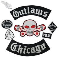 volle rückenweste großhandel-Populäre geächtete Chicago-Stickerei-Flecken für Kleidung Coole volle hintere Reiter-Entwurfs-Eisen auf Jacken-Weste