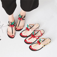 Wholesale korean women dress up - 2018 summer New Korean version Women sandals pearl Rough with Word deduction Low-heeled Toe Cherry sandals