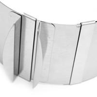 halka boyutlandırma çapı toptan satış-Geri çekilebilir Paslanmaz Çelik Daire Mus Halkası ayarlanabilir bakeware boyutu, çapı 16 cm - 30 cm (6 inç - 12 inç ayarlanabilir)