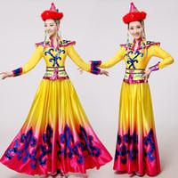 ingrosso abiti di fantasia giallo-Nuovo abbigliamento giallo mongolo Abbigliamento sportivo per esibizioni sul palcoscenico Abito da ballo Costume da ballo mongolo Costume da danza tradizionale cinese vestito lungo da carnevale