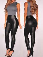 seksi tozluklar siyah toptan satış-Kadınlar Siyah Seksi Tayt Deri Slim Fit Tayt Yüksek Esneklik Kulübü Tarzı Pantolon Deri Çizmeler Tayt