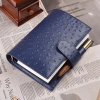 pastas de couro venda por atacado-Avestruz Cor Azul Anéis De Couro Genuíno Notebook 192x135mm Diário Pessoal Fichário de Ouro Planejador Diário Handmade Agenda Organizador