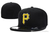 Wholesale hat pirates - Pirates On Field Style Baseball Fitted Hats Red Color Letter Gold Letter P Embroidery Sport Team Full Closed Caps