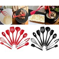 Wholesale utensils for kitchen - New Silicone Kitchen Utensils Set Not Sticky Pot Heat Resistant Spoon Shovel Ladle Spatula Cooking Set For Red And Black 10pcs Set HH7-1018