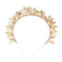 ingrosso lega d'oro lega-Il nuovo filo di rame brillante della lega lascia il costume fatto a mano tradizionale Accessori per la moda placcati oro Headwear