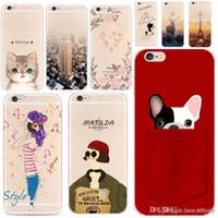 Wholesale rabbit silicon case - For Apple iPhone 6 6S 5 5S SE 6Plus 7Plus 5SE Soft Silicon Transparent Phone Case Cover Cute Cat Rabbit Emojio Phone Capa