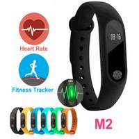 дисплей для браслетов bluetooth оптовых-M2 Heart Rate Smart Браслеты Band Умный браслет Bluetooth 4.0 Smartband Фитнес MI2 Miband Браслет 2 с OLED-дисплеем