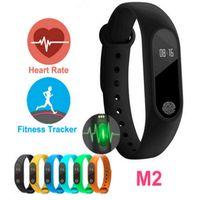 oled anzeigen großhandel-M2 Herzfrequenz Smart Armbänder Band Smart Armband Bluetooth 4.0 Smartband Fitness MI2 Miband Armband 2 mit OLED-Display