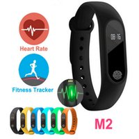 bluetooth akıllı bant toptan satış-M2 Kalp Hızı Akıllı Bileklikler Band Akıllı Bilezik Bluetooth 4.0 Smartband Spor MI2 Miband Bileklik 2 OLED Ekran ile