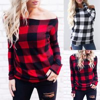 Wholesale checkered long sleeve cotton resale online - Women Off Shoulder Plaid Tops Long Sleeve Shirt Casual Blouse Loose T shirt Red Buffalo Checkered Shirts Colors OOA4146