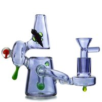 Wholesale small pink water pipe resale online - 2019 Unique Mini Bong Small Heady Glass Recycler Bongs Purple Pink Water Pipes Oil Dab Rigs Bubbler Pipes With Bowl XL129