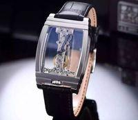 reloj dorado para hombre al por mayor-Nuevo Golden Bridge 113.550.70 / 0001 0000R Caja de acero Esqueleto Dial Mecánico Bobinado a mano Reloj para hombre Cristal Volver Correa de cuero negro Co41a1