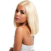 partie naturelle de la coiffure achat en gros de-BOB Lace Front Perruques Full Lace Wigs 613 Blonde Couleur Droite Partie Centrale Pré Plucked Natural Hairline pour filles 10-14 pouces