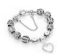 pulseira pulseira folha venda por atacado-Charme Beads Pulseira 925 Pandora Pulseiras Loveheart Pingente de Charme Pulseira de Quatro folhas talão como Presente Diy mulheres Jóias com Logotipo