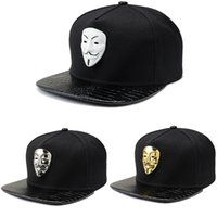 Wholesale vendetta gold - New style Brand Base High Quality Men Cap Women Mens Hats Shiny V for Vendetta Snapback Casquette Cap Adjustable Youth Hip-hop Caps White