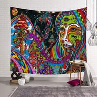 malen teppich großhandel-bunte Ölfarbe Stil Tapisserie ethnischen Indien indischen Wandbehang Tuch spirituelle Egytian Dekor Polyester Zimmer Salon Teppich