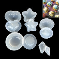 Wholesale heart cake mould - DIY Silicone Mold Making Pendant Jewelry Resin Casting Mould Craft Tool Clear Star Shell Heart DDA682 Baking Moulds