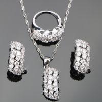 ingrosso gioielli in pietra bianca-Set di gioielli in argento con zirconi bianchi, set di gioielli in argento, donne, ciondolo, orecchini con pietre, set di gioielli in confezione regalo