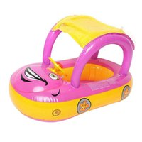 sunshades for cars Australia - Cute Baby Float Seat Boat with Inflatable Ring Cartoon Car Swim Boat Pool Ring Seat With Sunshade & Canopy For Kids Baby Infant