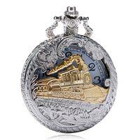 reloj de bolsillo vintage tallado al por mayor-Vintage Steampunk plata tren oro tallado hueco cuarzo reloj de bolsillo hombres mujeres collar colgante reloj regalos